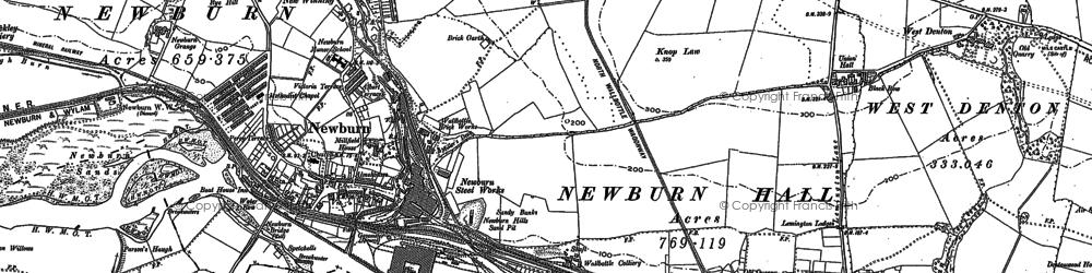 Old map of Newburn in 1894