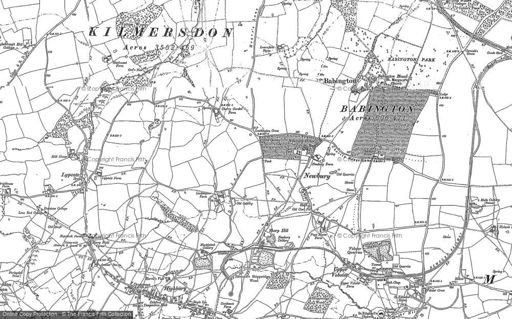 Old Map of Historic Map covering Babington Ho in 1884