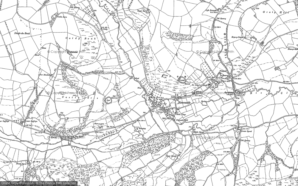Old Map of Historic Map covering Ale Oak in 1883