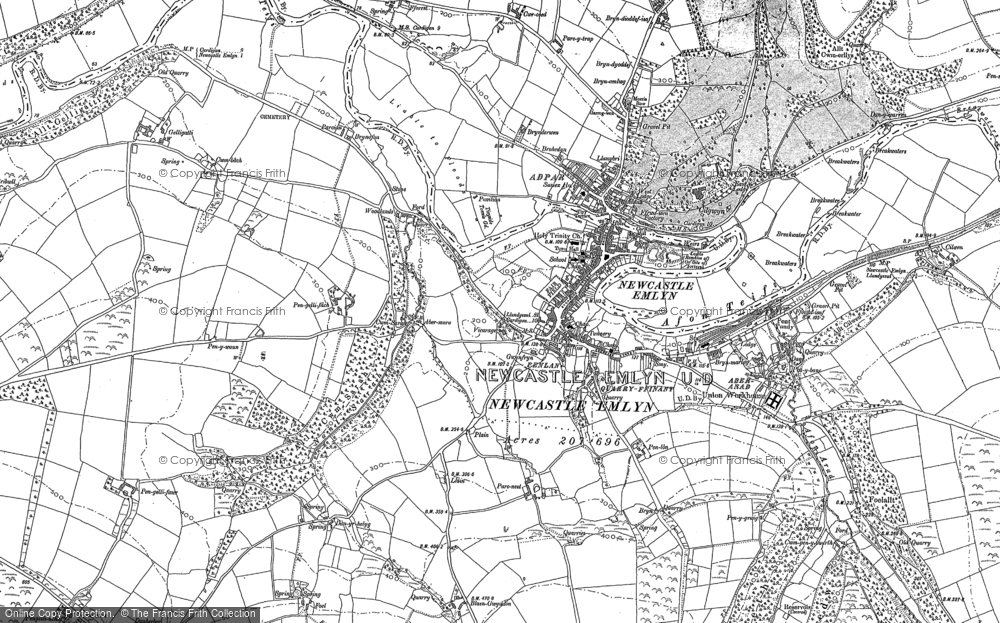 Old Map of Newcastle Emlyn, 1887 in 1887
