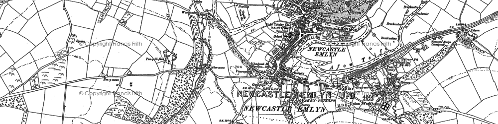 Old map of Newcastle Emlyn in 1887