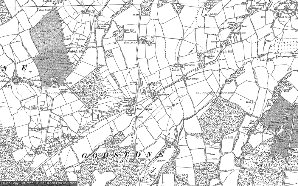 Old Map of Historic Map covering Baker's Wood in 1910