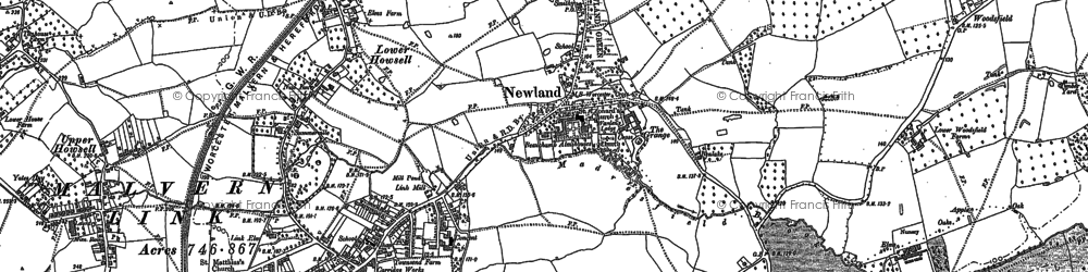 Old map of Newland in 1884