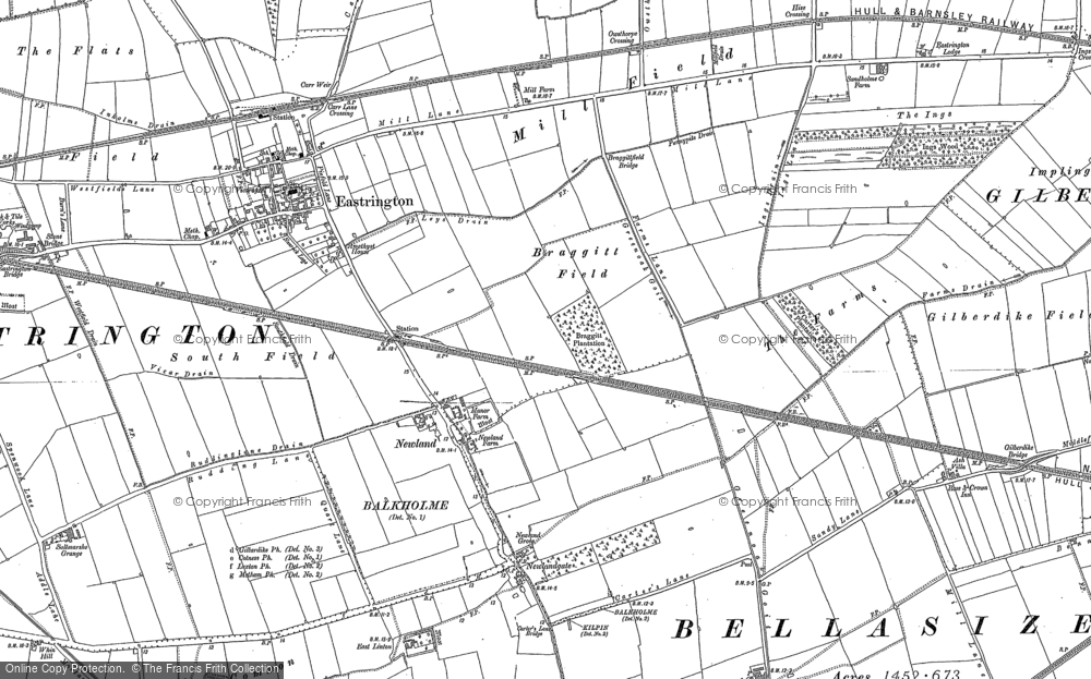 Old Map of Historic Map covering Balkholme Common in 1888