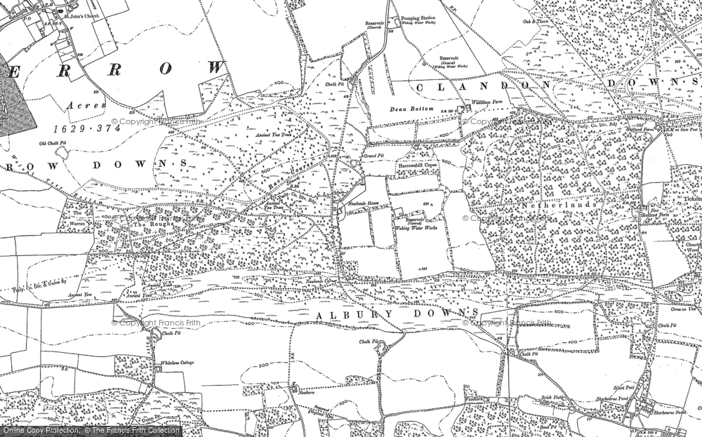 Old Map of Historic Map covering Albury Downs in 1895