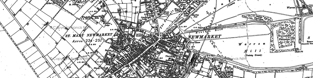 Old map of Newmarket in 1884