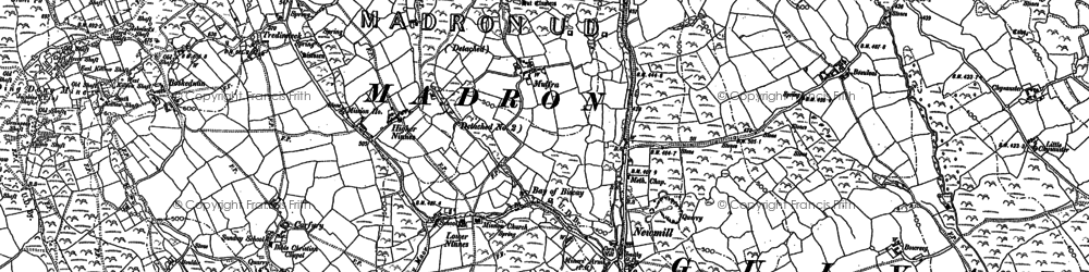 Old map of Boskednan in 1877