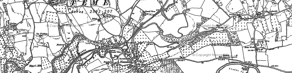 Old map of Newnham Bridge in 1901