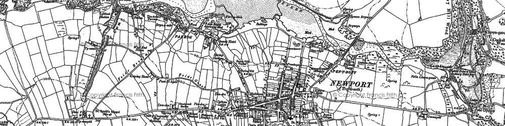 Old map of Afon Nyfer in 1906