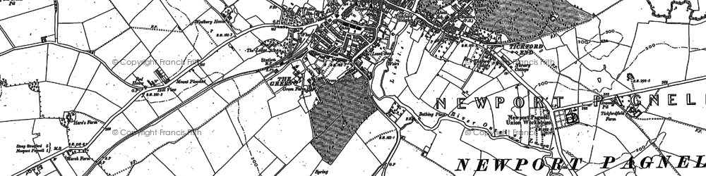 Old map of Newport Pagnell in 1924