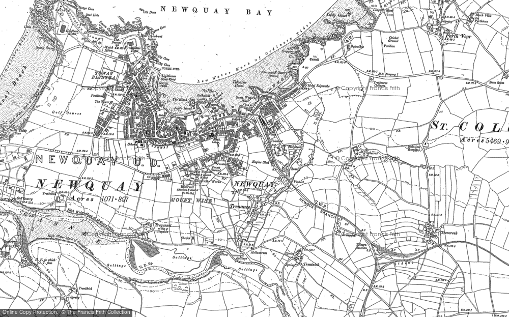 Old Map of Newquay, 1906 in 1906