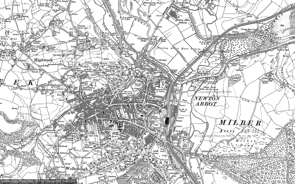 Map of Newton Abbot, 1887