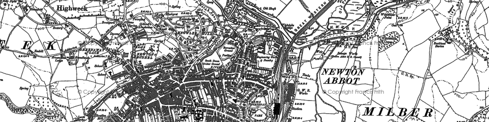 Old map of Newton Abbot in 1887