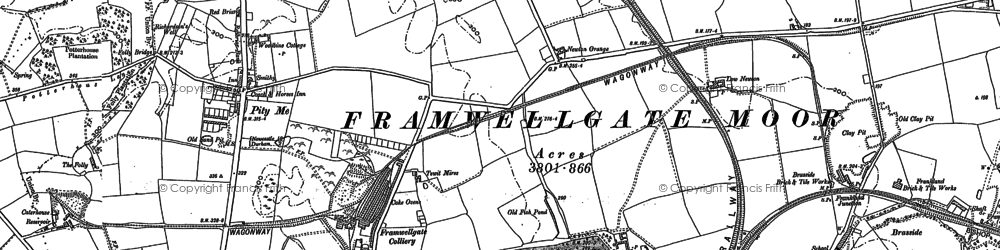 Old map of Woodwell Ho in 1895