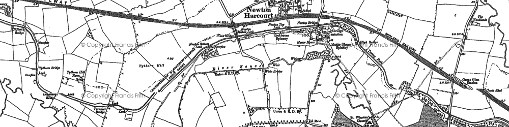 Old map of Wigston Harcourt in 1885