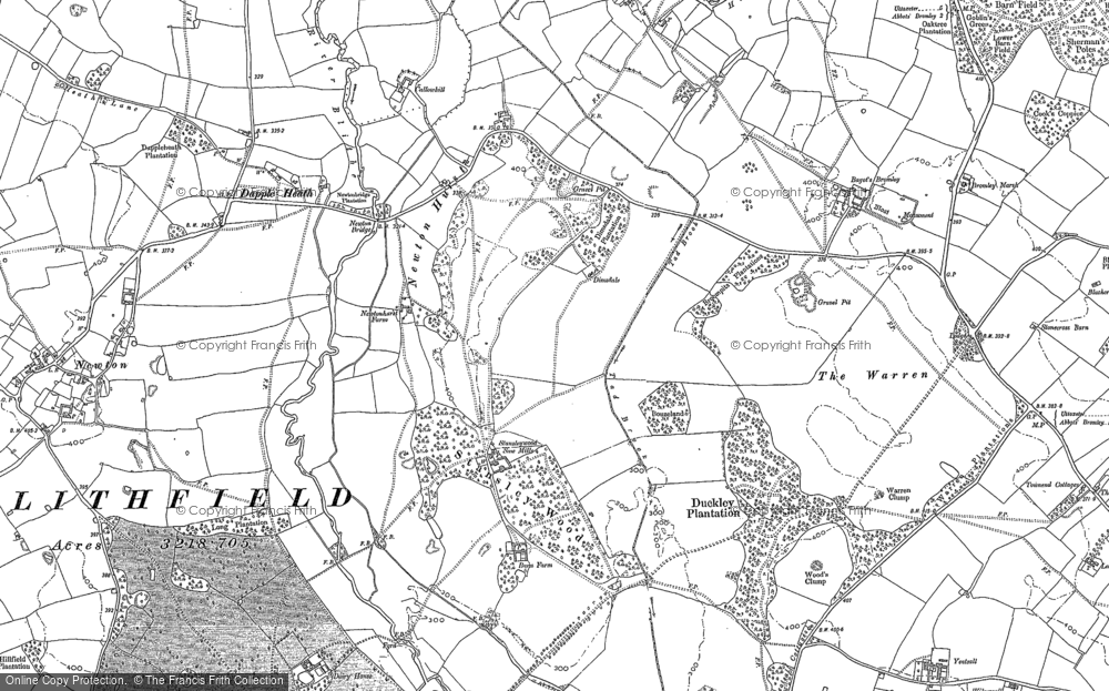 Old Map of Historic Map covering Bagot's Bromley in 1881