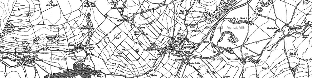 Old map of Newton-in-Bowland in 1907