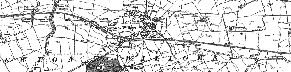 Old map of Aysgarth School in 1890