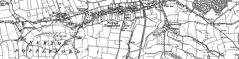 Old map of Newton Poppleford in 1888