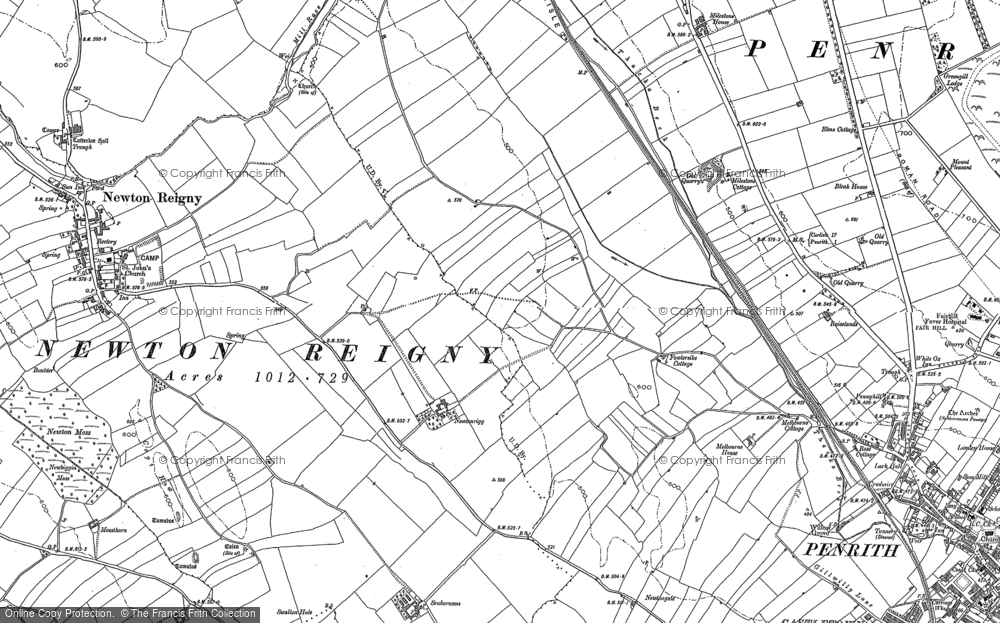 Old Map of Historic Map covering Lingstubbs in 1898