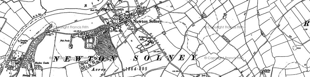 Old map of Newton Solney in 1882