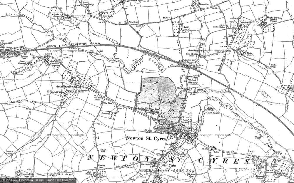 Old Map of Historic Map covering Yendacott Manor in 1886