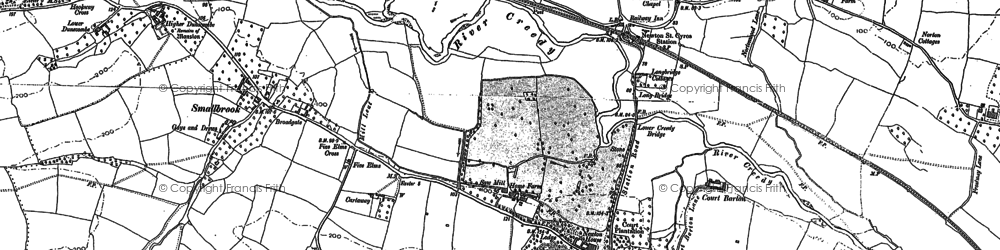 Old map of Newton St Cyres in 1886