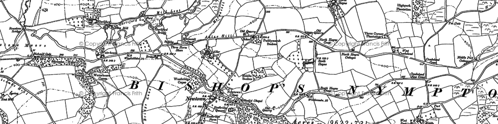 Old map of Aller in 1886