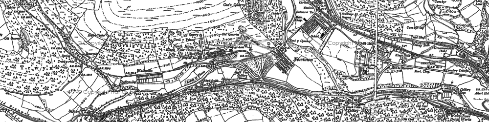 Old map of Crosskeys in 1899