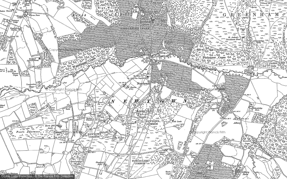 Old Map of Historic Map covering Adbury Ho in 1909