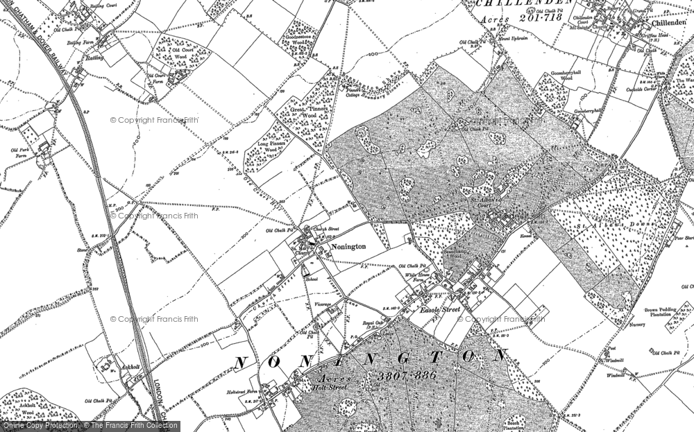 Old Map of Nonington, 1896 in 1896