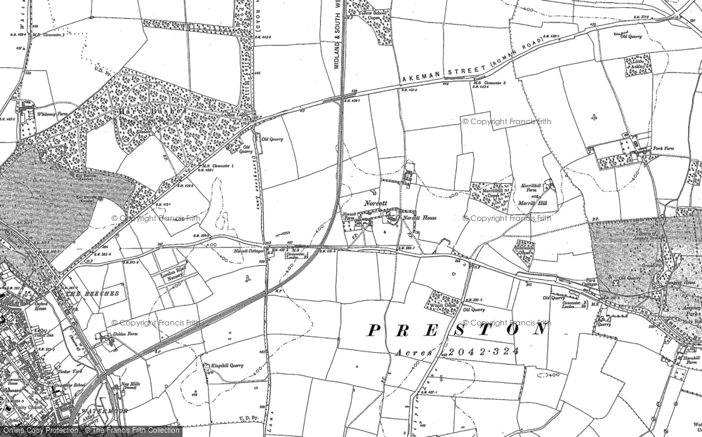 Old Map of Historic Map covering Yellow School Copse in 1875