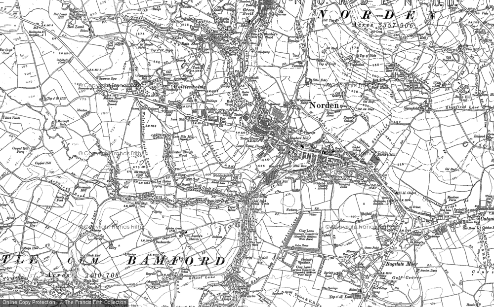 Old Map of Historic Map covering Bamford in 1890