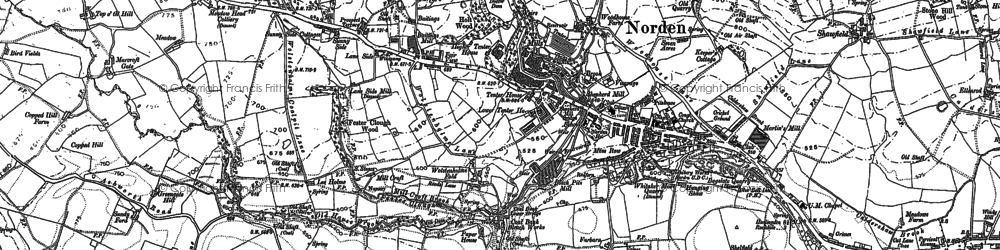 Old map of Bagslate Moor in 1890
