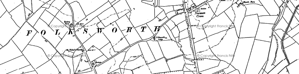 Old map of Norman Cross in 1887