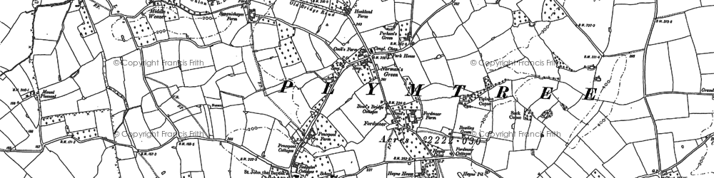Old map of Woodbeer Court in 1887