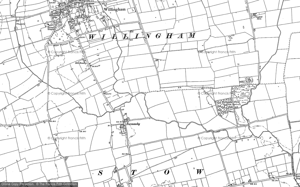 Old Map of Normanby by Stow, 1885 in 1885