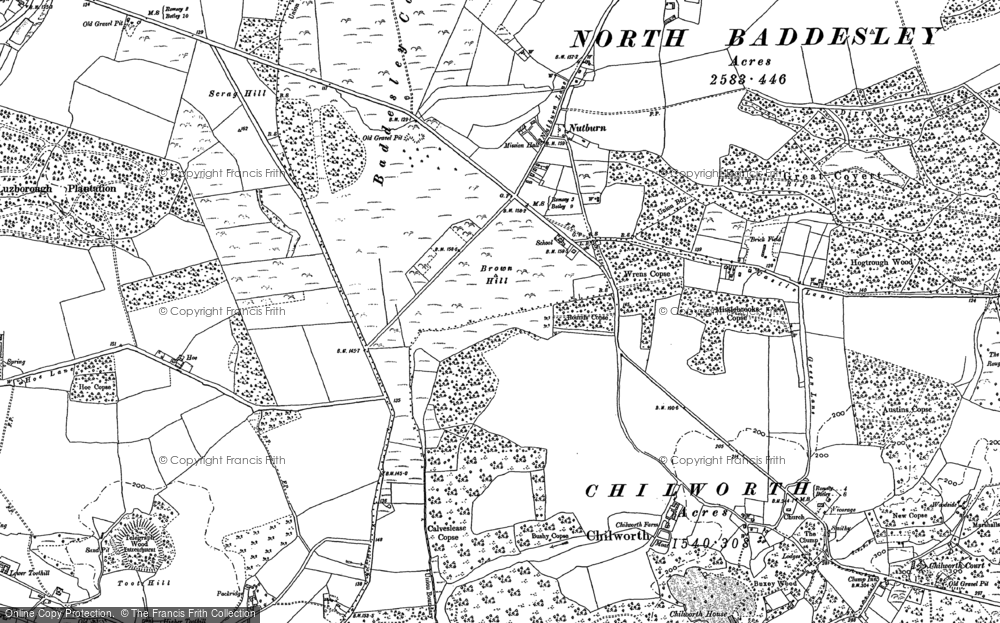 Old Map of Historic Map covering Whitenap in 1895