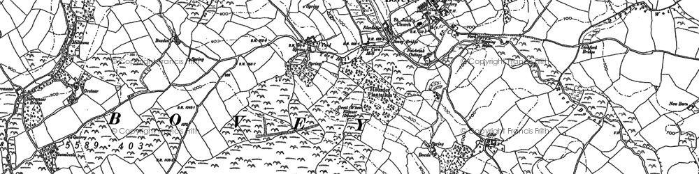 Old map of Aller in 1884