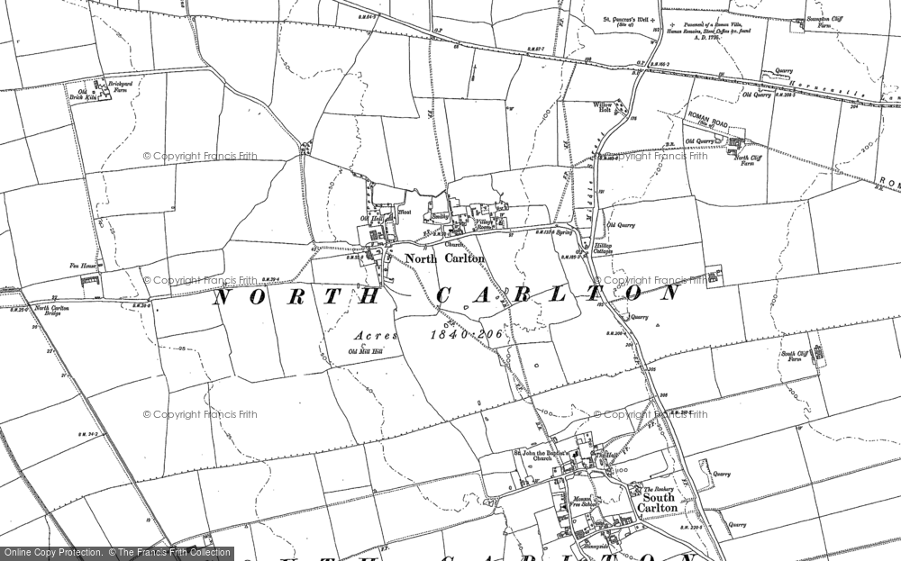 Old Map of Historic Map covering Till Bridge Lane Ho in 1885