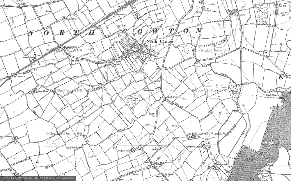 Old Map of Historic Map covering Atley Hill in 1891