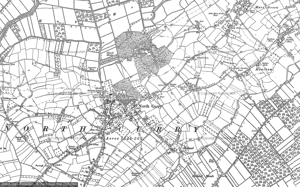 Old Map of North Curry, 1886 in 1886