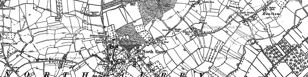Old map of Sedgemoor Old Rhyne in 1886