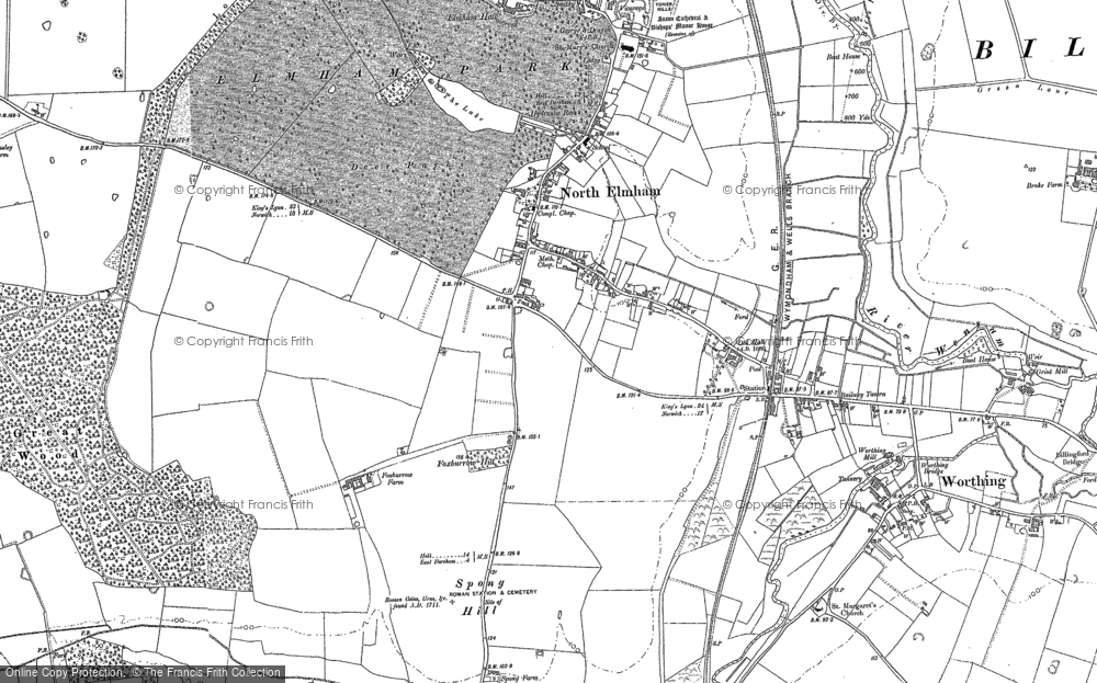 Old Map of North Elmham, 1883 - 1885 in 1883