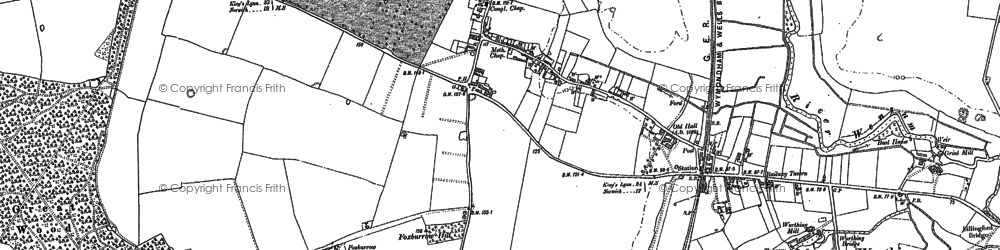 Old map of North Elmham in 1883
