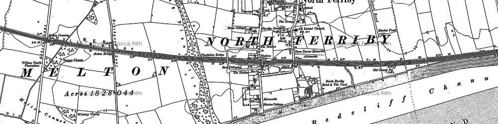 Old map of North Ferriby in 1908