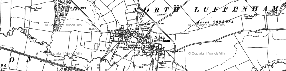 Old map of North Luffenham in 1884
