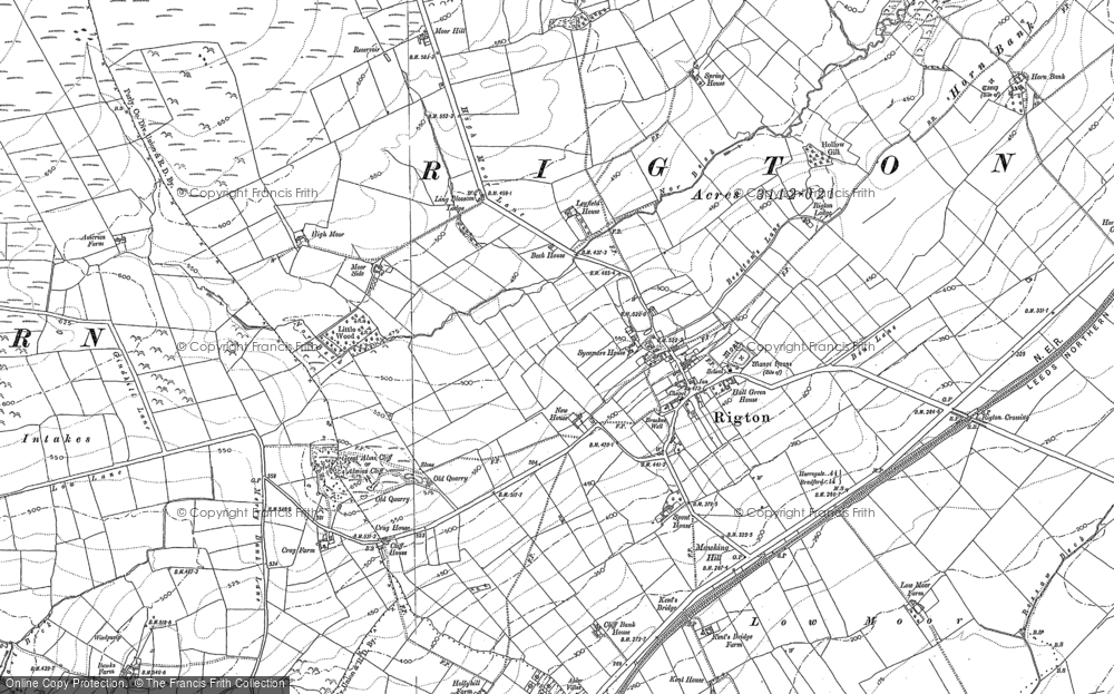 Old Map of Historic Map covering Almscliff Crag in 1888