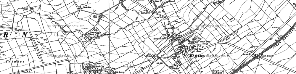 Old map of Almscliff Crag in 1888