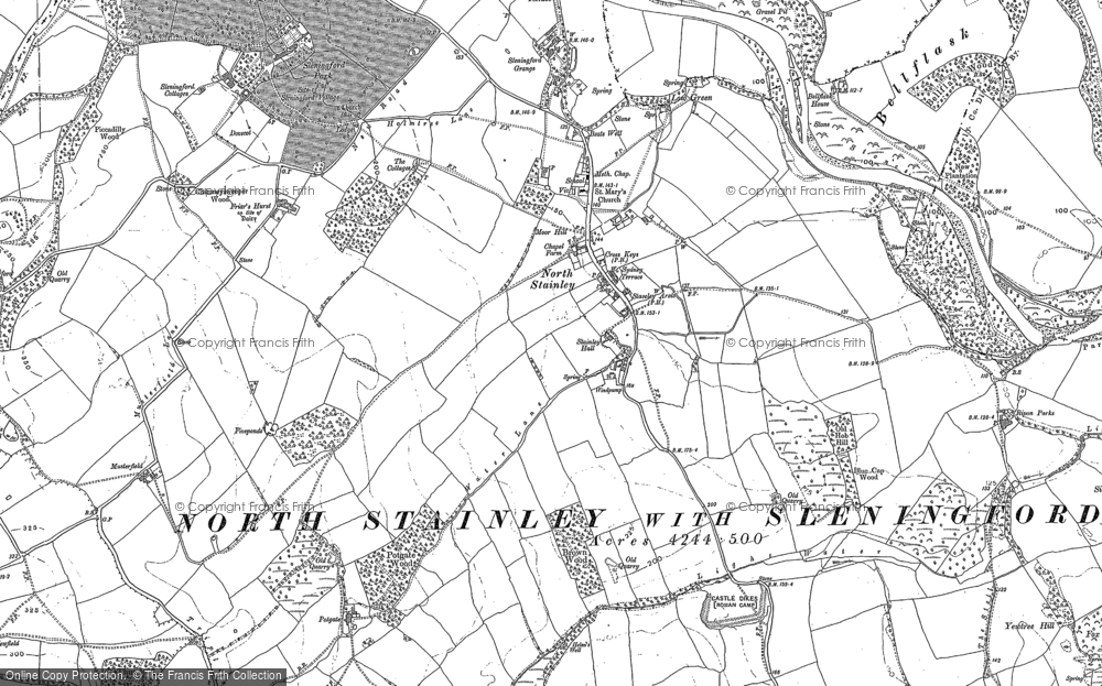 Old Map of Historic Map covering Lightwater Valley in 1890